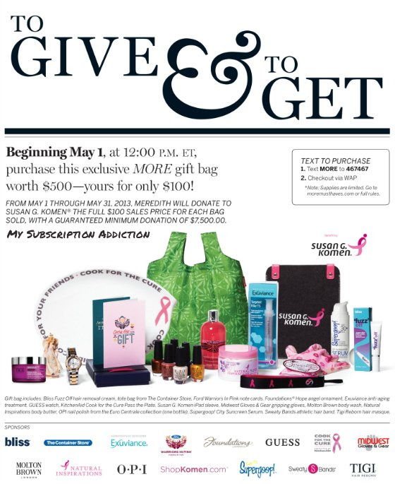 MORE Magazine To Give & To Get Beauty Gift Bag - Product List!