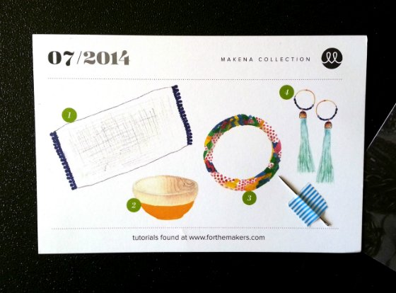 For the Makers DIY Subscription Box Review - July 2014 Card