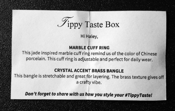 Tippy Taste Jewelry Subscription Box Review - June 2015 - info