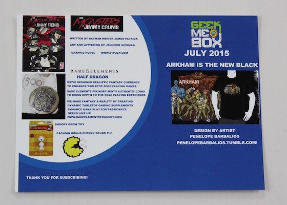 Geek Me Box Subscription Review – July 2015 - Info Card