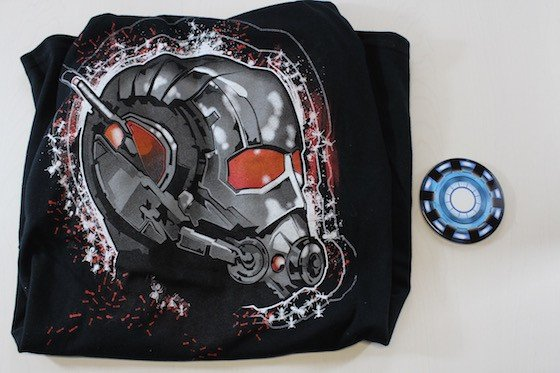 Exclusive Ant-Man t-shirt and Arc Reactor coaster