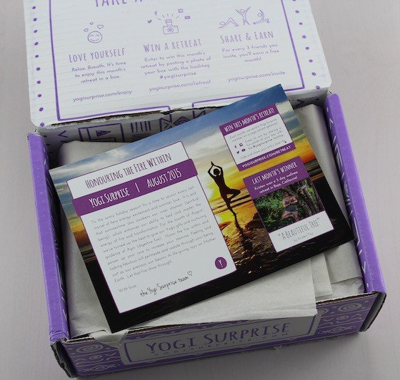 Yogi Surprise Subscription Box Review – August 2015 Open