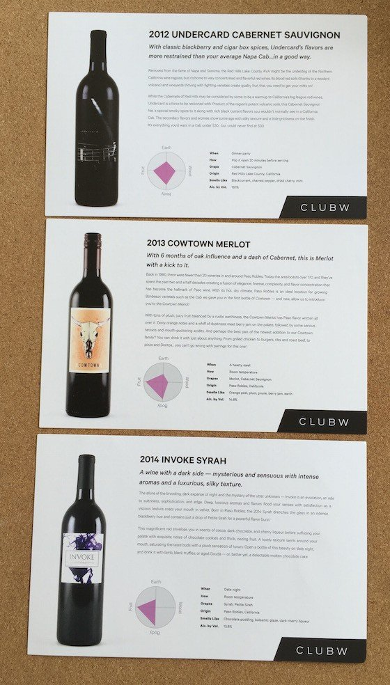 Club W Wine Subscription Review & Coupon September 2015 - Cards1