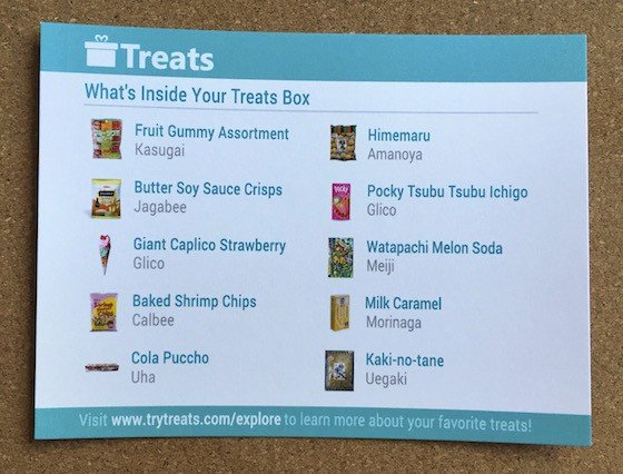 Treats Subscription Box Review August 2015 - Info