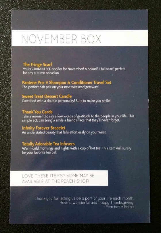 Peaches And Petals Subscription Box Review November 2015 - info 1