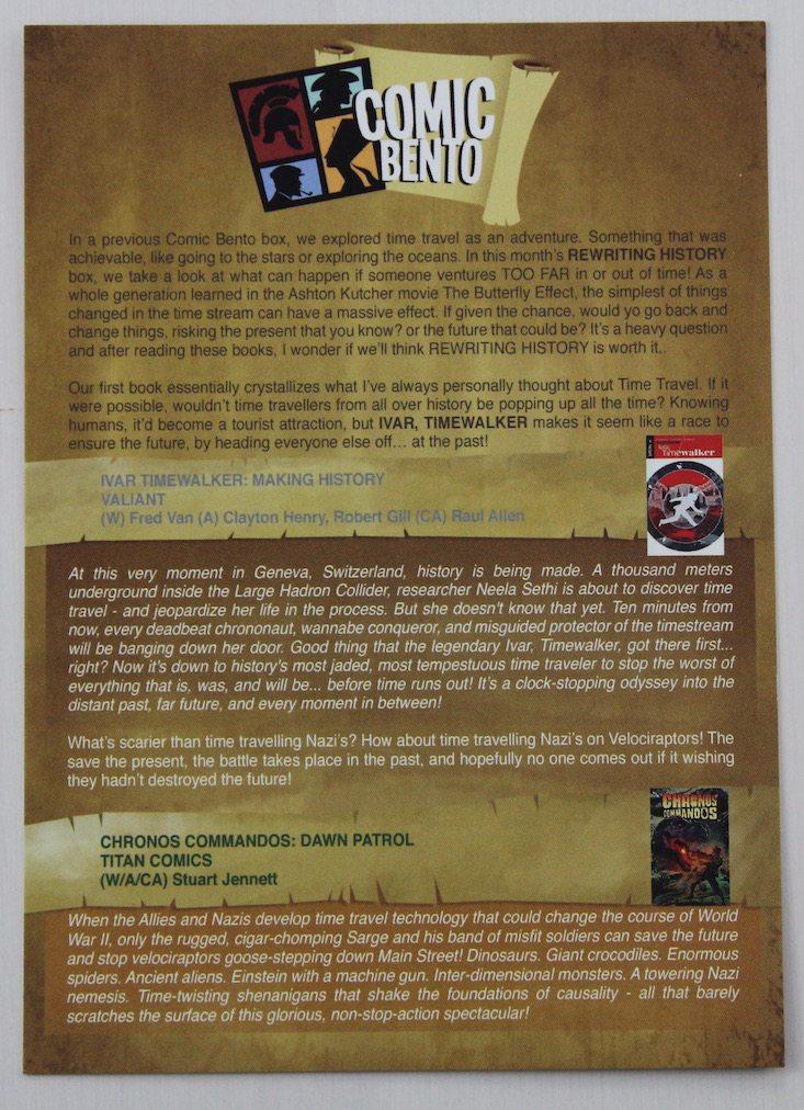 Comic Bento Subscription Box Review + Coupon May 2016 - card front