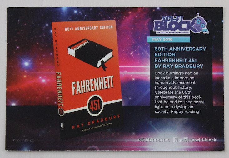 Sci Fi Block Subscription Box Review + Coupon May 2016 - card front