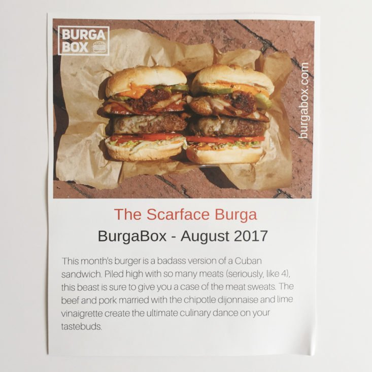 BurgaBox August 2017 Meal Kit Subscription Box
