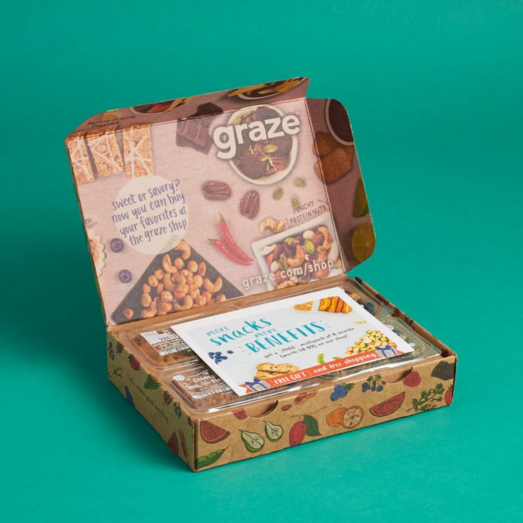 I'm reviewing the healthy, tasty snacks I got in this month's Graze subscription box!