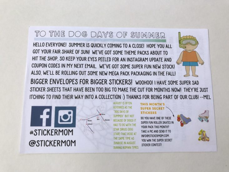 Stickermom August 2017 Adult and Kids Sticker Subscription Box