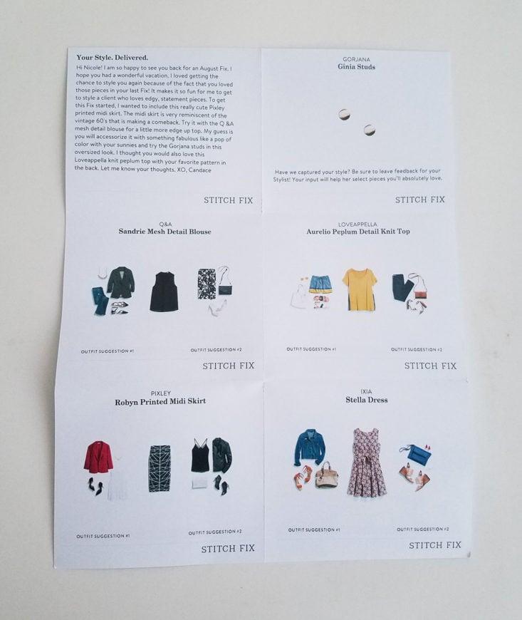 Stitch Fix Plus August 2017 Women's Clothing Subscription Box