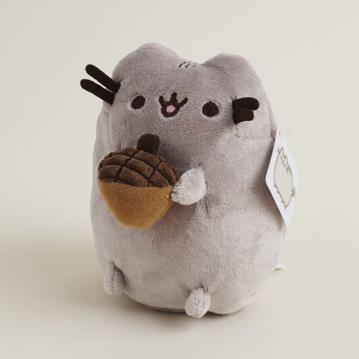 pusheen holding an acorn plush