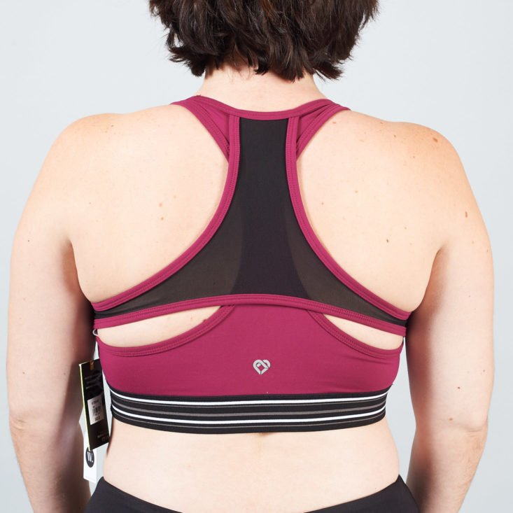 berry colored sports bra back