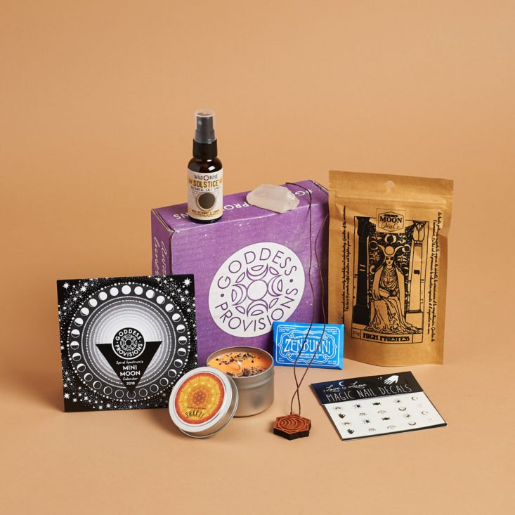all items inside the december 2017 goddess provisions solstice box