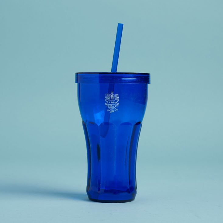 blue retro tumbler with straw