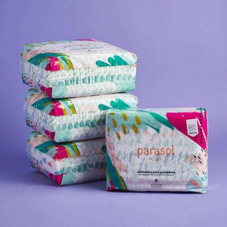 4 packs of Parasol diapers