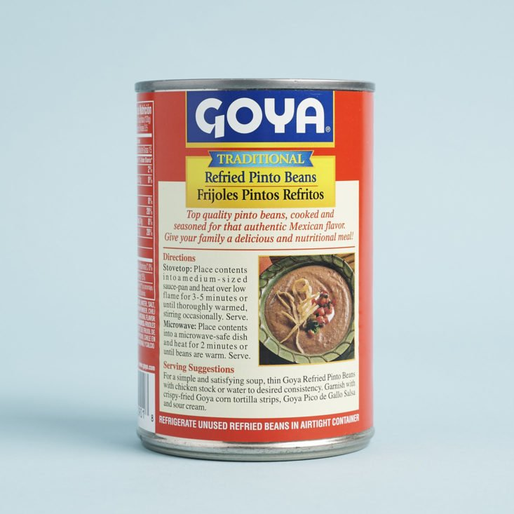 back of label for Goya Traditional Refried Pinto Beans