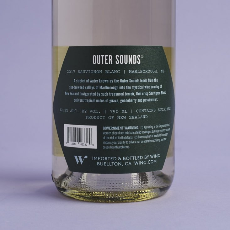 back of label for 2017 Outer Sounds Sauvignon Blanc