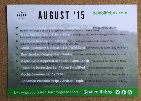 Paleo Life Box Subscription Box Review August 2015 - Card
