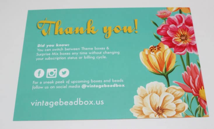Vintage Bead Box August 2017 DIY Bead Subscription Box