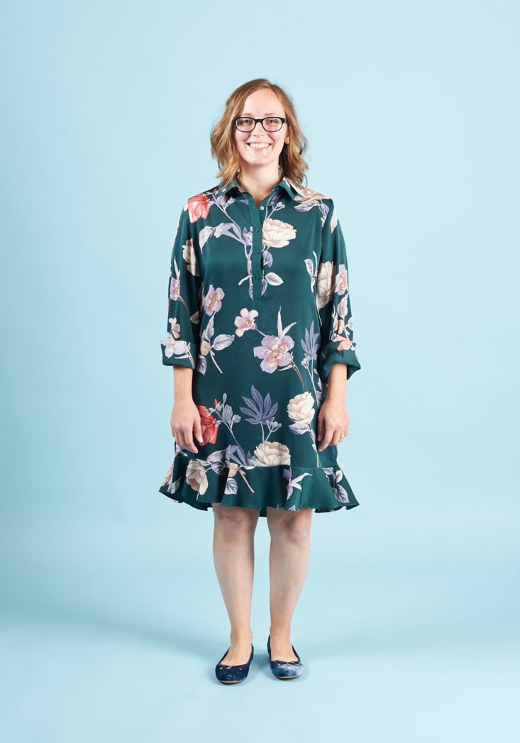 StitchFix Petite Fall 2017 Review - Outfit #3 Green Floral Ruffle Dress