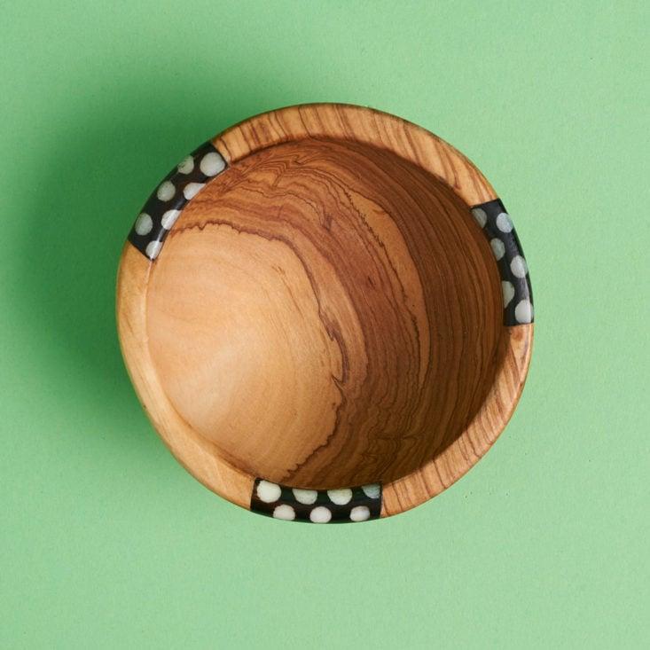 birds eye view of handmade wood and bone condiment bowl from kenya