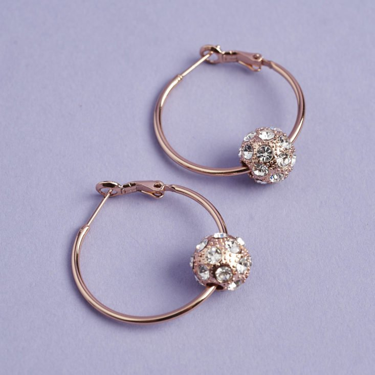 rise gold hoop earrings with rhinestone-studded beads