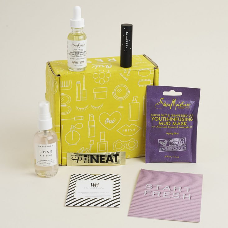 contents of October 2017 Oui Fresh Box