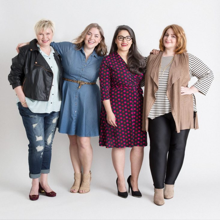 Four stylish women wearing dresses, tops, bottoms, and jackets from Dia & Co