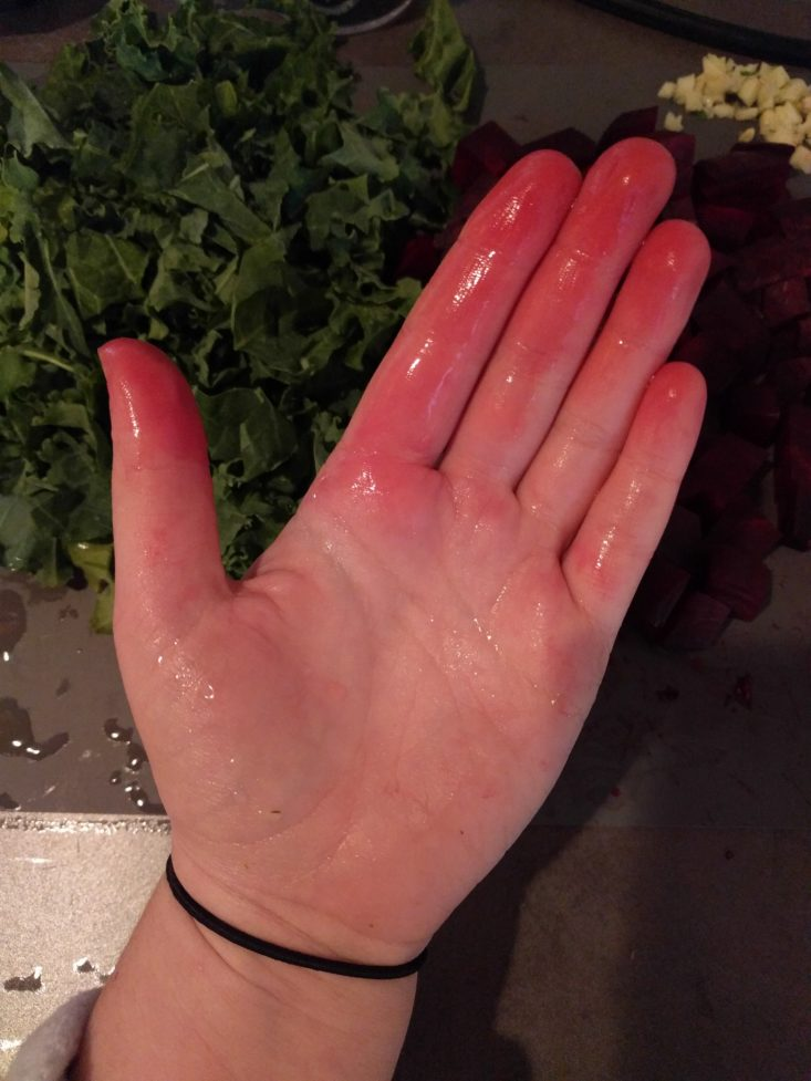 hand stained by beets