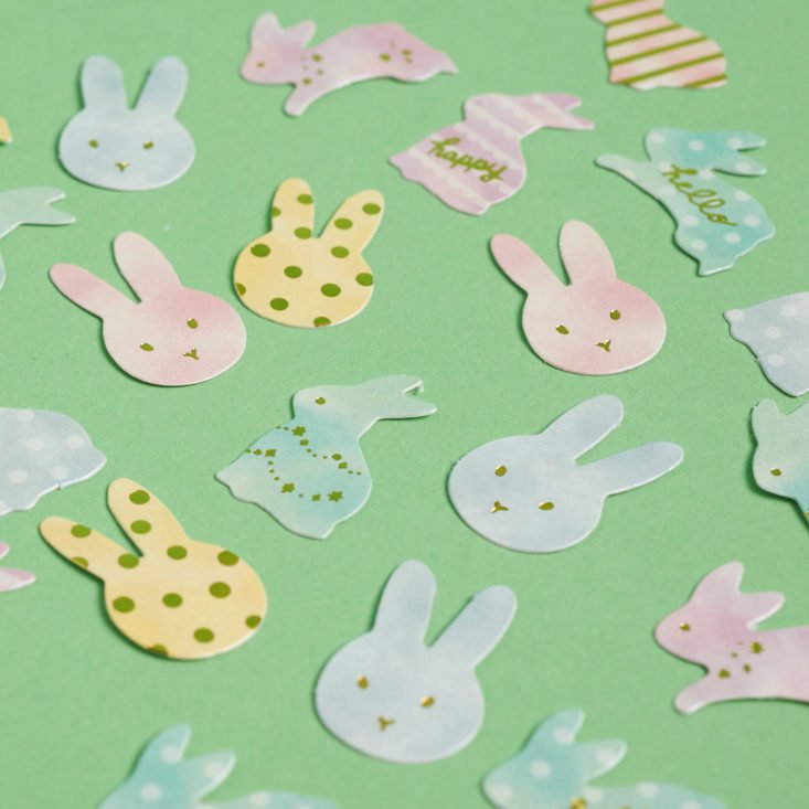close up on bunny die cuts
