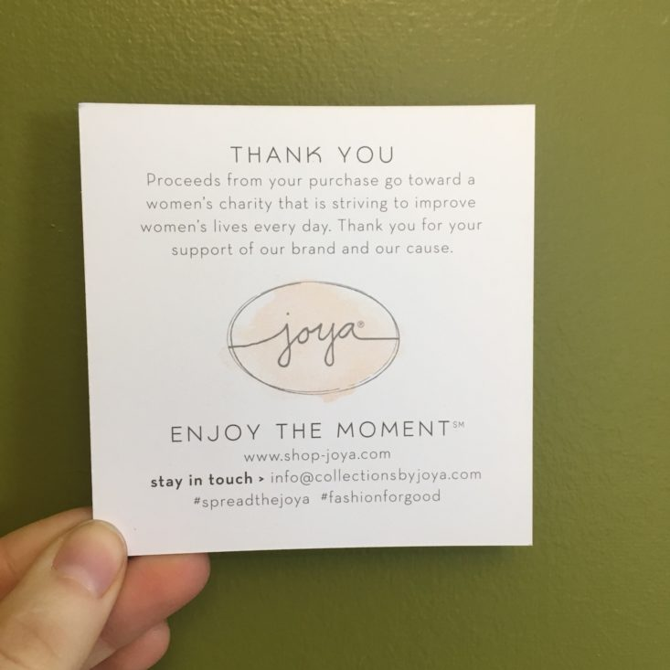 Collections by Joya March 2018 Welcome Card