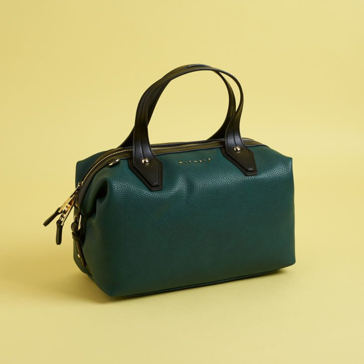 teal faux leather satchel