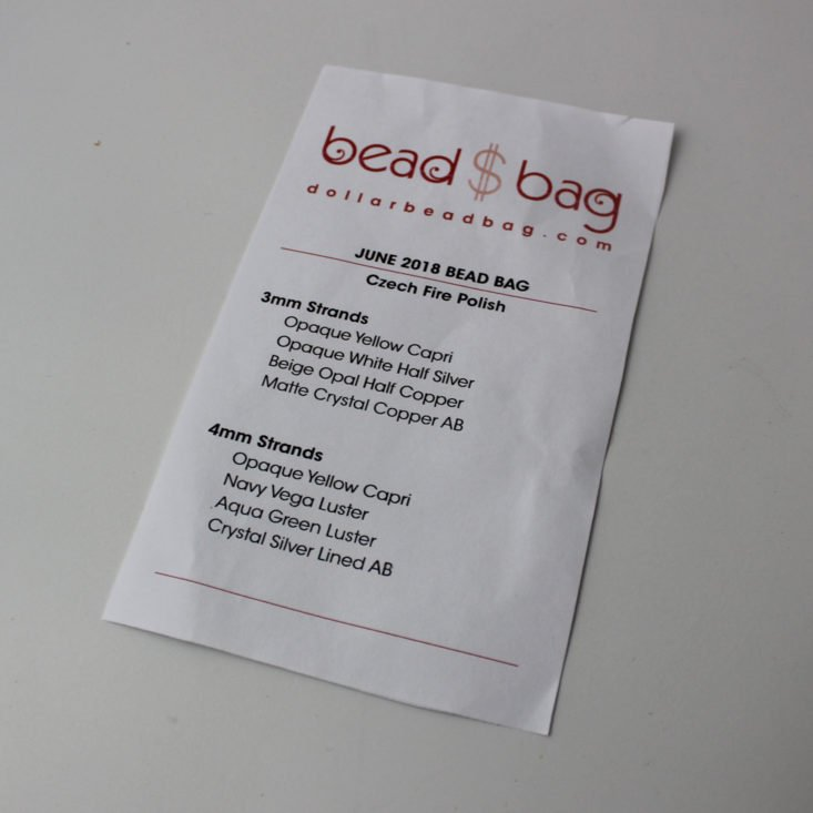 Dollar Bead Bag June 2018 Booklet