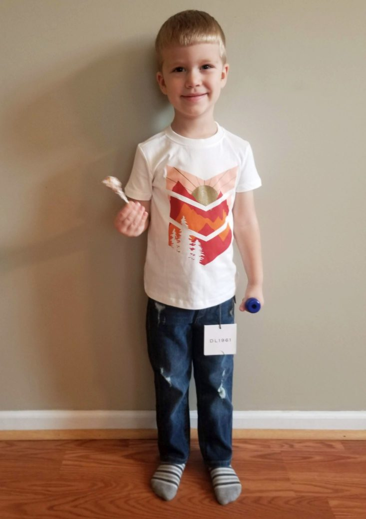 Stitch Fix Kids Boy Box October 2018 white tee and distressed jeans modeled