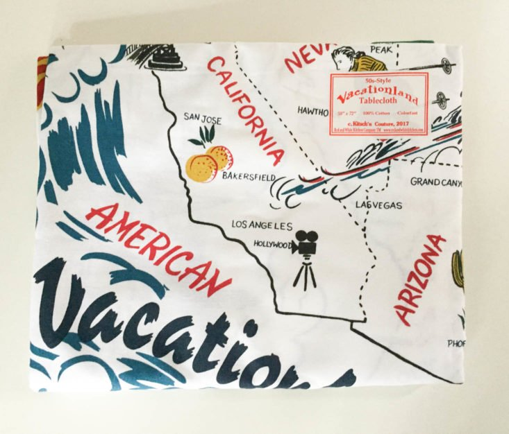 Betty Boomerang Subscription Box Review October 2018 - State Map Tablecloth by Red and White Kitchen 1 Front