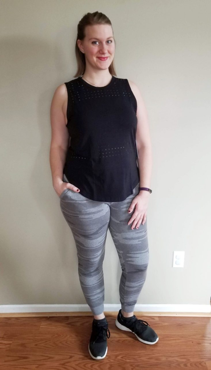 Wantable Fitness Edit November 2018 black tank and camo joggers