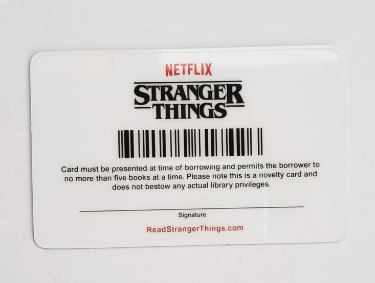 Creepy Crate October 2018 - Stranger Things Library Card 4