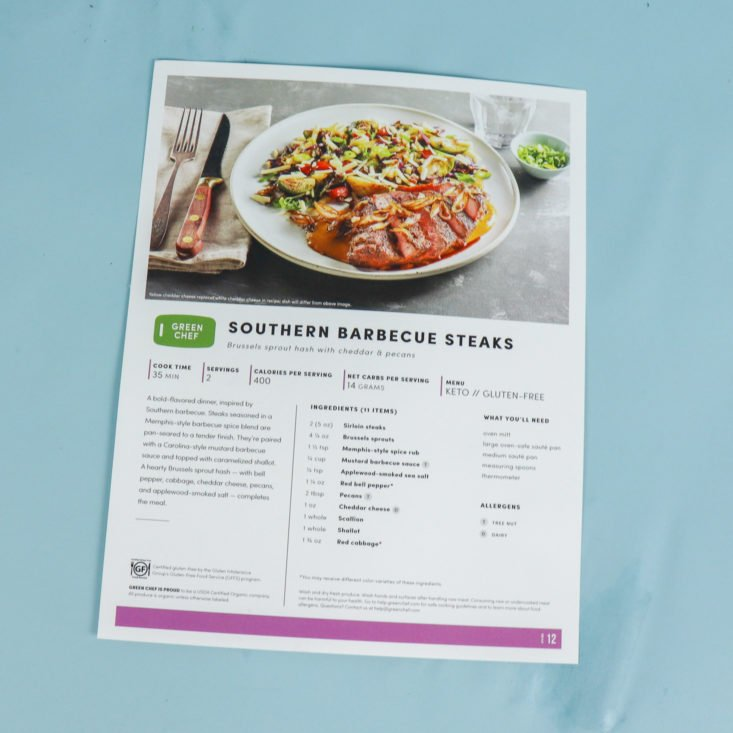 steak recipe card front