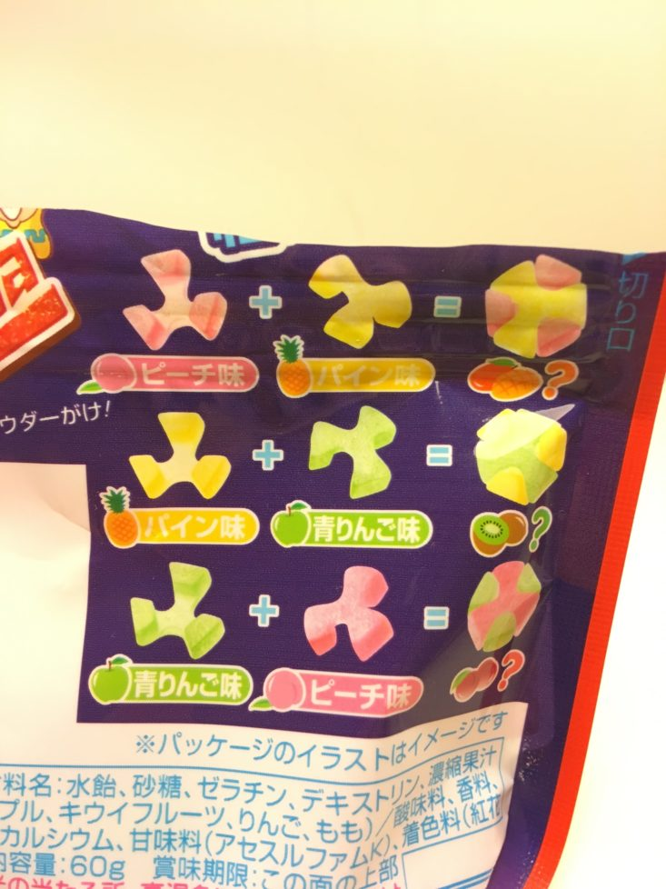 Japan Candy Box December 2018 - Kanro Candemina Assembly Sour Candies Fruit Mix Pouch Back Flavors Details Front
