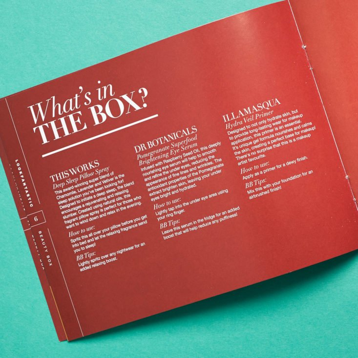 Look Fantastic December 2018 booklet whats in the box