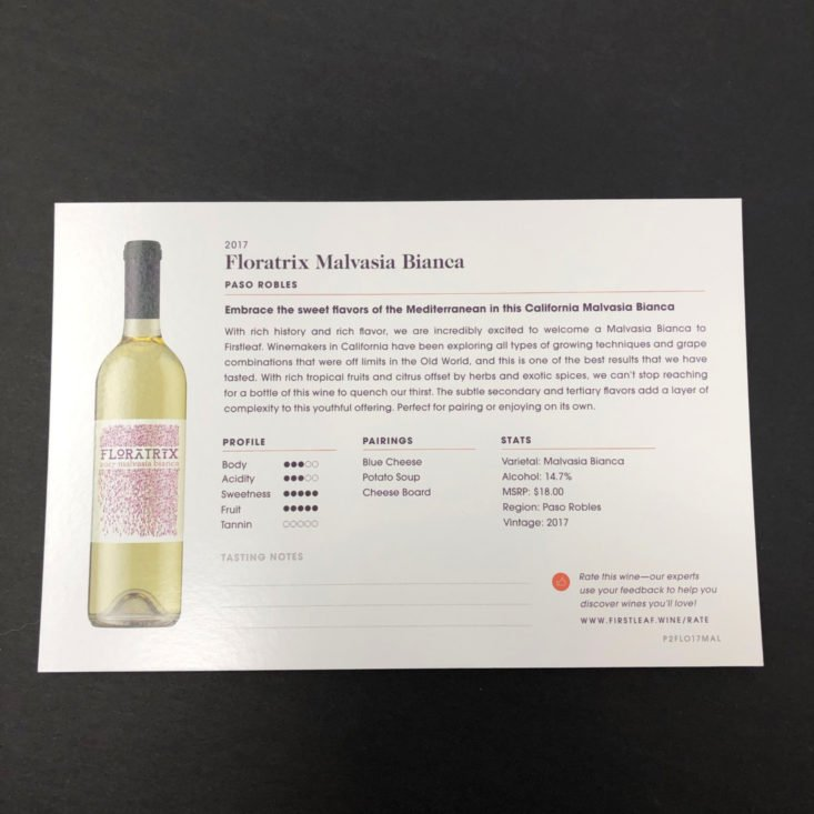 Firstleaf Wine Subscription Review January 2019 - Floratrix Malvasia Bianca (Paso Robles, California) Info Card Back Top
