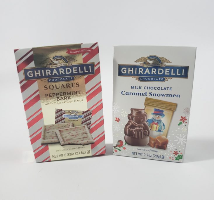 Mini Mystery Box Of Awesome January 2019 -Ghirardelli Candy In Peppermint Bark And Milk Chocolate Caramel Front View