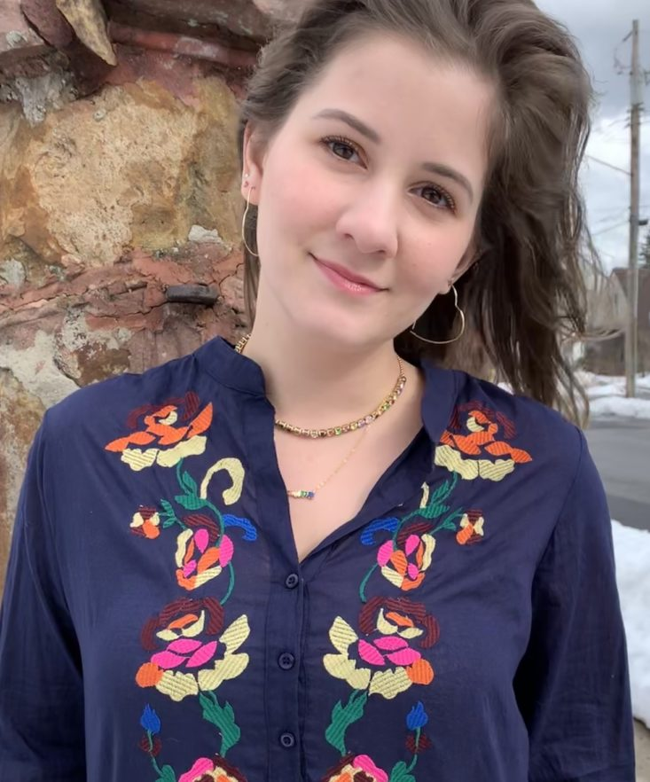 Golden Tote Review February 2019 - Sayulita Embroidered Tunic Onn Closer Front