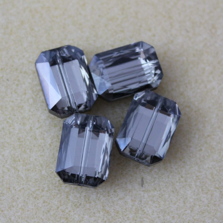 Bargain Bead Box February 2019 - 18 x 13mm Chinese Crystal Rectangle Beads, Silver Shadow Front