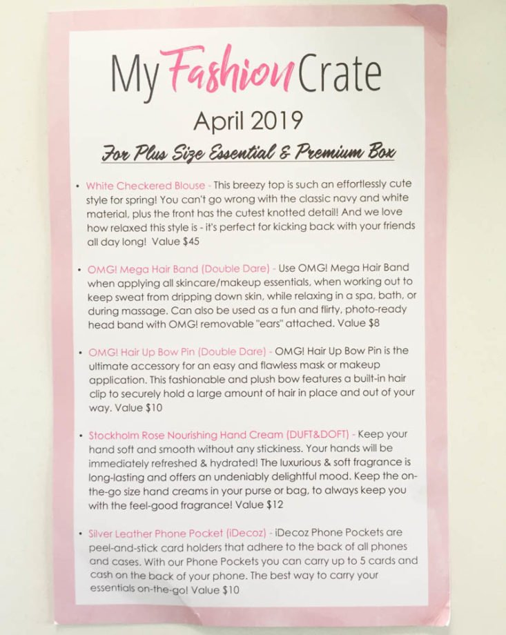 my fashion crate april 2019 - booklet Top
