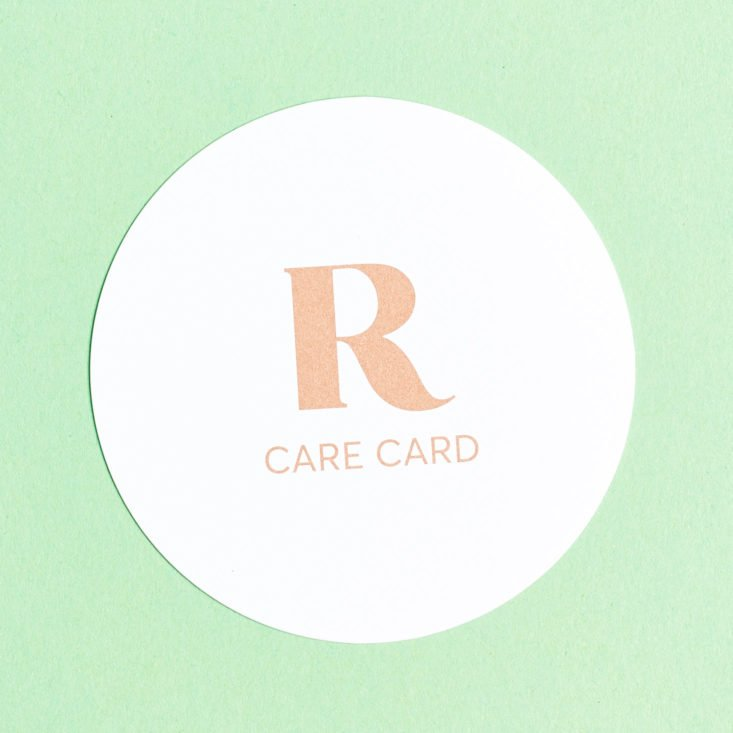 Rocksbox May 2019 review card care front