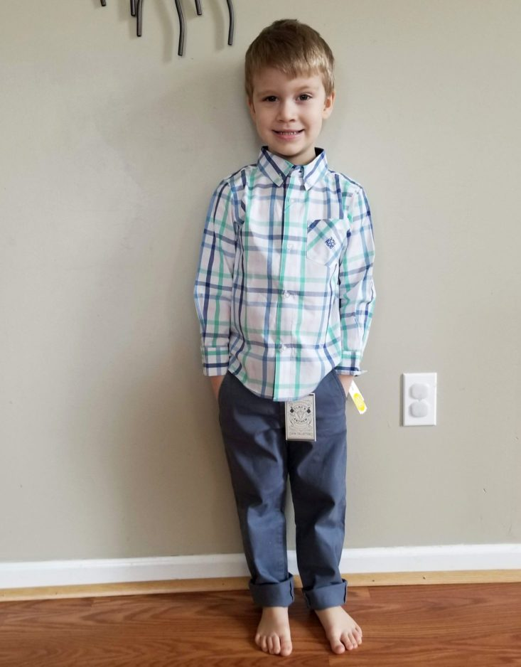 Stitch Fix Kids Boys May 2019 white button down and grey pants modeled