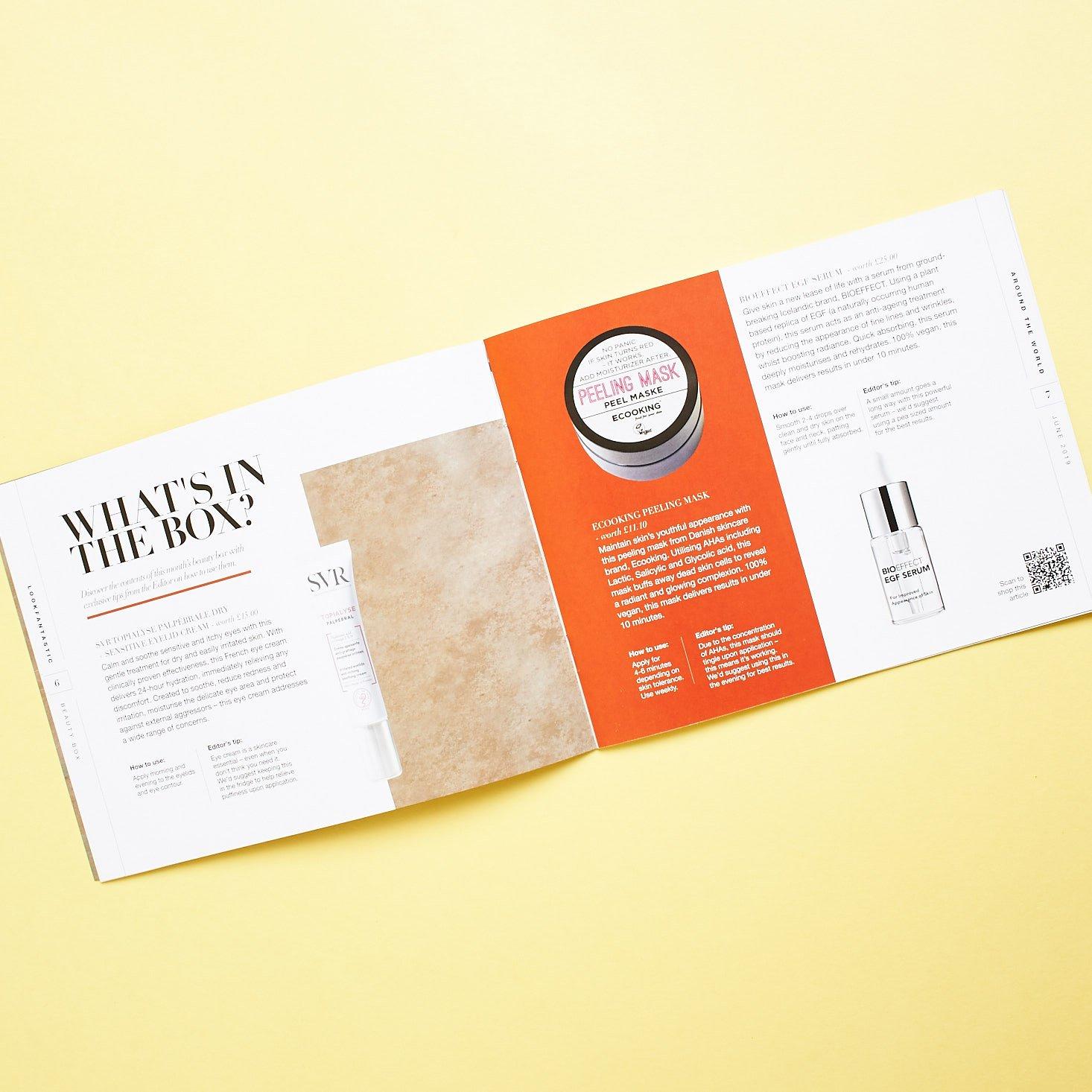 Look Fantastic June 2019 beauty box review booklet