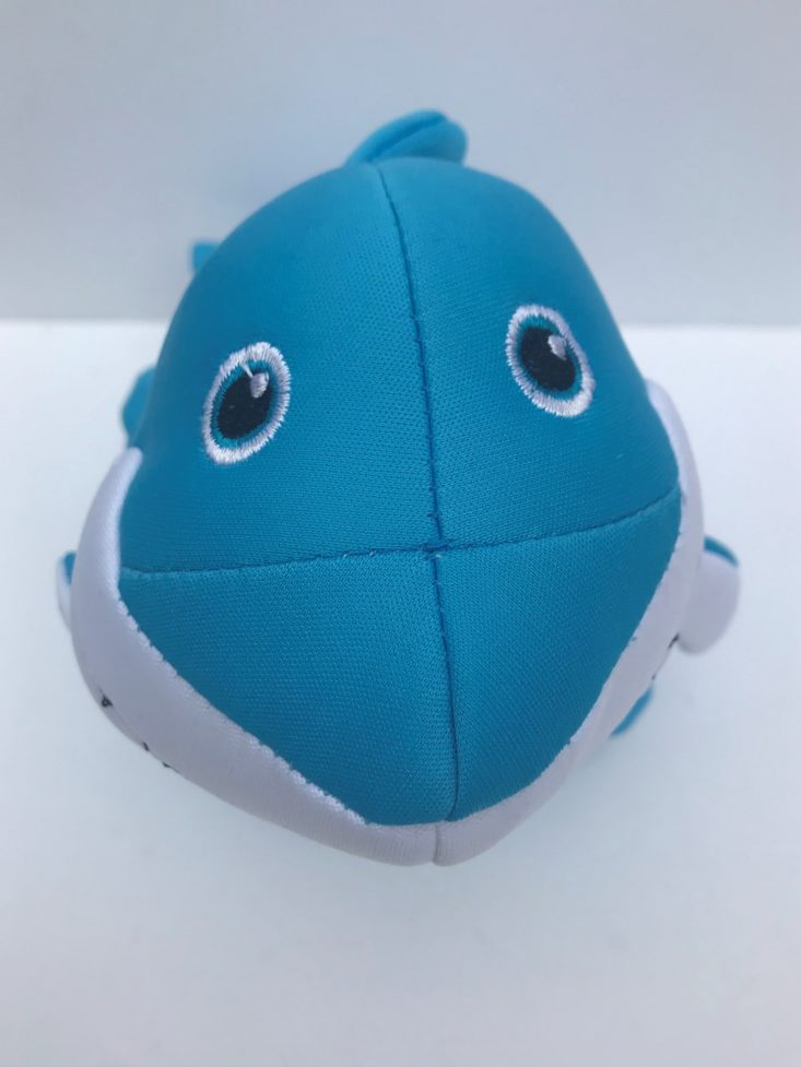 Mini monthly mystery box for dogs June 2019 - shark toy front Closer